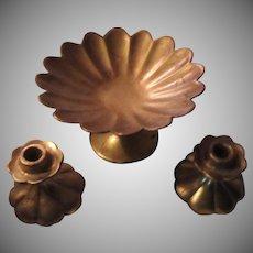 Anthony Gold Gilt Pedestal Bowl and Candle Sticks Set California