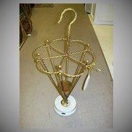 Italian Florentine Metal Umbrella Cane Stand Marble Base