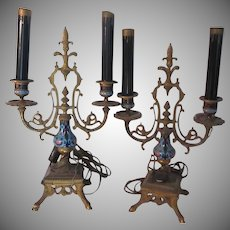 Champleve & Gilt Pair Table Candelabra Rare Antique Lighting