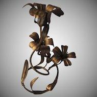 Italian Florentine Gold Gilt Metal Candleholder Italy Flower Design