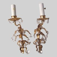Italian Florentine Gold Gilt Electric Wall Sconces