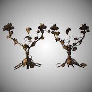 Pair Italian Florentine Gold Gilt Candelabra Flower Design Italy