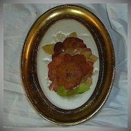 Old Italian Florentine Framed Flowers & Satin