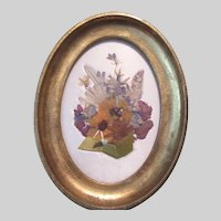 Florentine Framed Fabric Flowers Satin Art