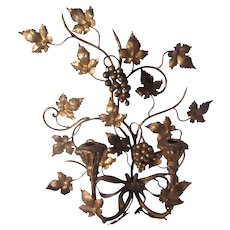 Italian Florentine Gold Gilt Fancy Wall Sconce Grapes Candleholders or Electric