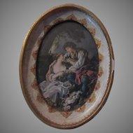 Florentine Italy Framed Miniature Boucher Art Hand Painted Frame