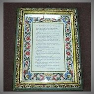 Italian Florentine Gold Gilt Framed Proverbial Woman Poem Art