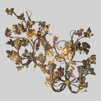 Pair Italian Florentine Gold Gilt Wall Sconces Candle Holders Lighting