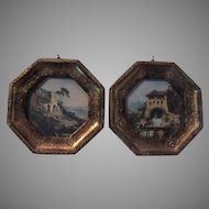Pair Italian Florentine Gold Gilt Framed Miniature Print Art Italy Homes