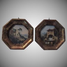 Pair Italian Florentine Gold Gilt Framed Miniature Print Art Italy Homes