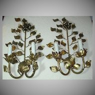 Pair Gold Gilt Florentine Wall Sconce Candle Style With Roses