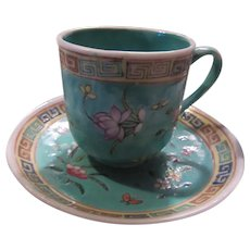 Older Chinese Turquoise Blue Demitasse Cup Saucer