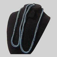Turquoise and Black Seed Beads Crochet  Long Rope Beaded Necklace
