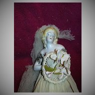Rare Old Half Doll Dressed