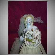Rare Old Half Doll Dressed