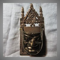Old Metal Wall Pocket Match Safe Drama Face