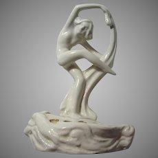 White China Nouveau Nude Lady Flower Frog Figurine