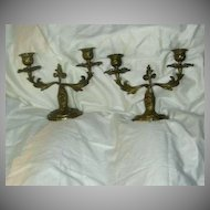 Art Nouveau Fine Brass Pair Short Candelabra Candle Holders