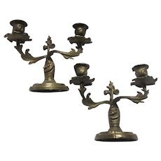 Art Nouveau  Pair Bronze  Candelabra Candle Holders