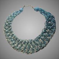 Aqua Blue Braided Glass Seed Beads Choker Necklace