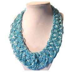 Rich Aqua Blue Braided Sparkly Beads Necklace
