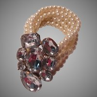 Costume Pearls Bracelet Huge Rhinestone Center