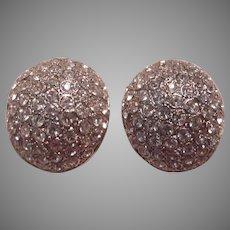 Silver Rhinestone High Dome Clip Earrings