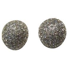 Rhinestone Domed Clip Earrings