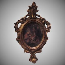 Miniature Florentine Ornate Frame with Floral Print
