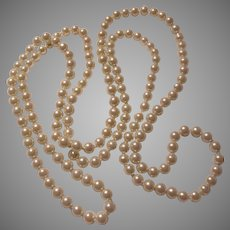 Long Rope Necklace Large Faux Pearls