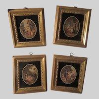 Borghese Set 4 Prints Black Glass Gold Gilt Frames