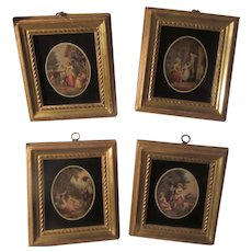 Borghese Set 4 Prints Black Glass Gold Gilt Frames
