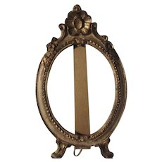 Old Italian Florentine Oval Picture Easel Frame