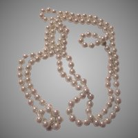 Very Long White Faux Pearls Rope Necklace