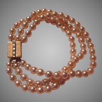 Triple Strand Costume Pearls Bracelet