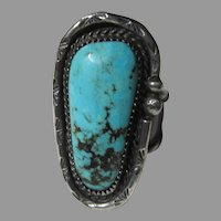 Native American Large  Turquoise Sterling Silver Ring Sz 10