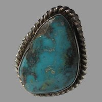 Native American Ring Fine Turquoise Sterling Silver Sz 10.5