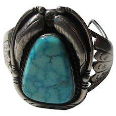 Native American Large Signed Turquoise  Bracelet