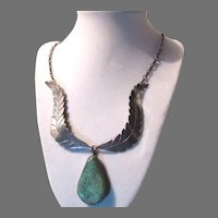 Native American Sterling Silver Turquoise Pendant Necklace Signed