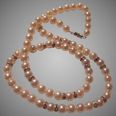 Lustrous Faux Pearls Pearl Necklace Rhinestone Spacers