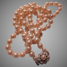 Very Fine Faux Pearls Necklace Pearl Clasp