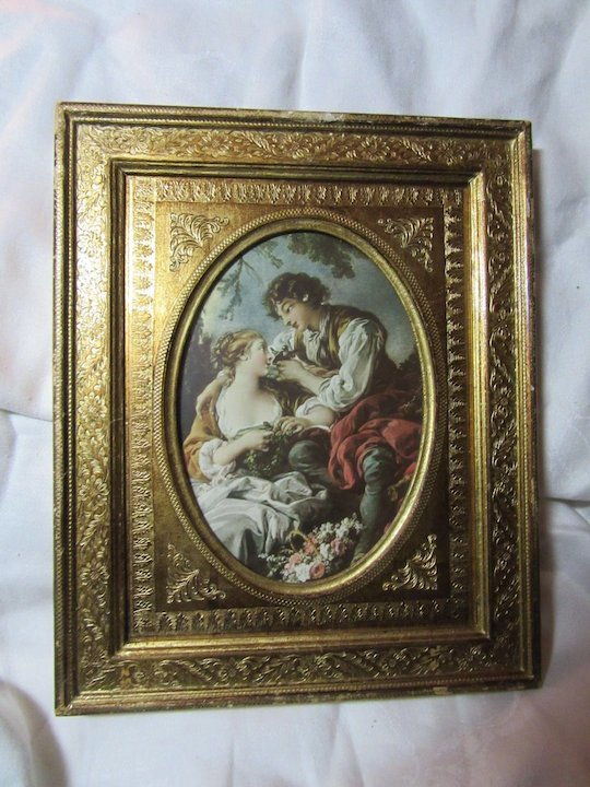 Italian Florentinen Gold Gilt Frame With Original Print Of Boucher