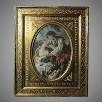 Italian Florentinen Gold Gilt Frame With Original Print of Boucher Love Scene