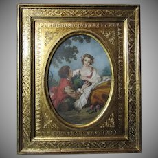 Italian Florentine Gold Gilt Frame With Print Le Musette By Boucher