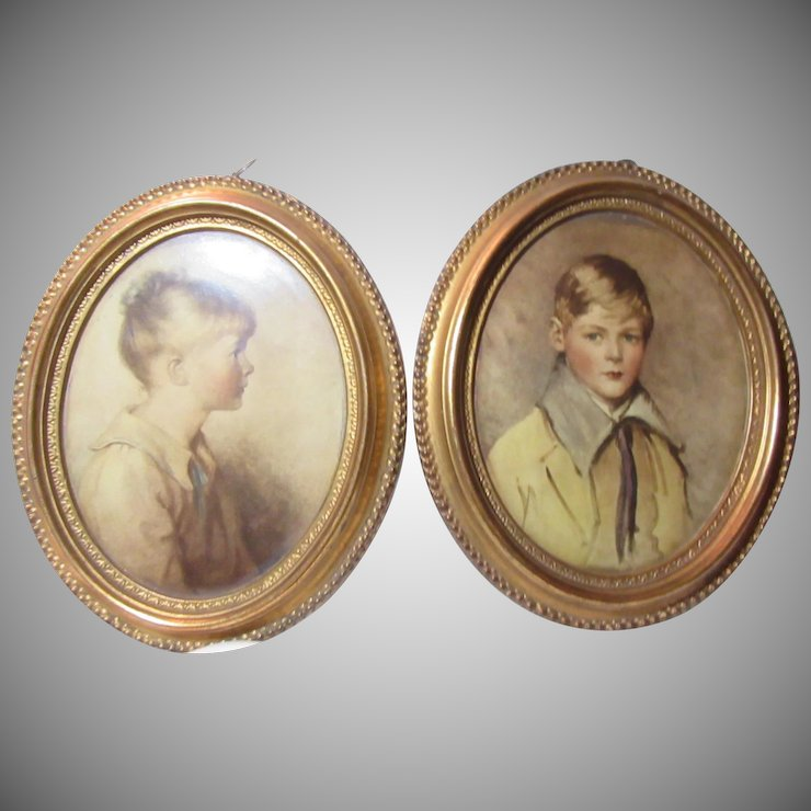Borghese Pair Plaques Boy And Girl Gold Frames Antiques Jewelry