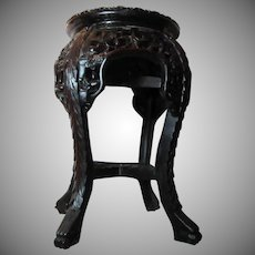 Chinese Oriental Stand Table Carved