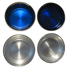 FB Rogers Silver Cobalt Blue Glass Set 4 Coasters
