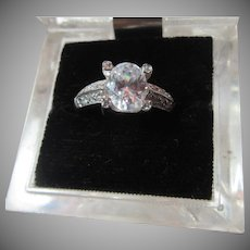 Sterling Silver Cubic Zirconia CZ Ring Sz 8