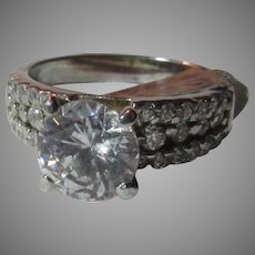 Sterling Silver Cubic Zirconia CZ Ring Sz 8.5