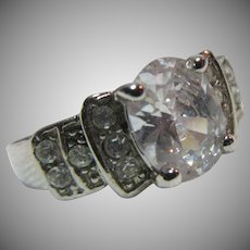 Fine Vintage CZ Cubic Zirconia  Ring  Sz 9